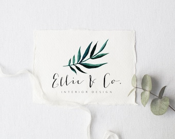 premade logo design · palm leaf · watermark logo · watercolor graphic · photography shop logo · premade branding kit · small business logo