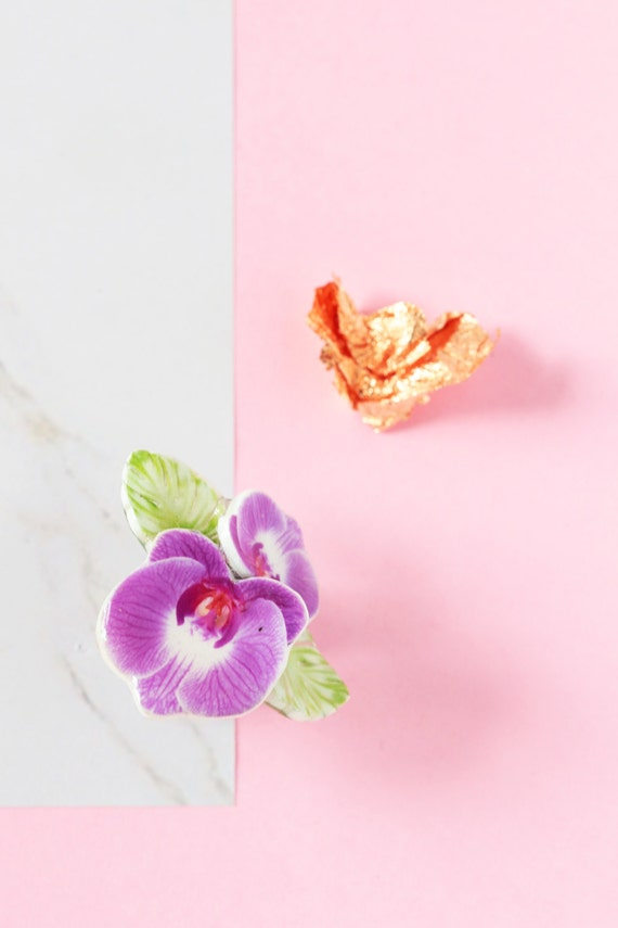 radiant orchid ring, tropical flower jewelry, eyecatching fashion statement ring in pink and green