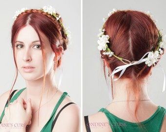 Meliae - Crown Tiara, circlet, garland, white flower head piece, crown bridal, wedding accessories, flowers white, played bride
