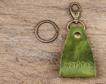 Schlüsselwerk WT0710, leather key chain with carabiner, green