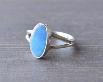 Waves of Green & Blue Boulder Opal Ring // Opal Jewelry // Sterling Silver // Village Silversmith