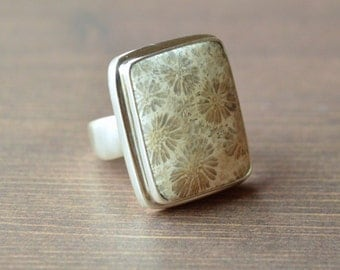 Rectangular Pastel Fossilized Coral Ring