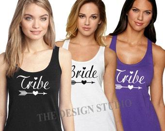 5 Bridesmaid Tank Tops, Maid of Honor, Bridal Party Tank Tops, Bride Tribe Tanks, Wedding Party Shirts, Custom Bridal Tanks