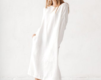 Linen dress, Milky white linen dress Long linen dress, Linen tunic, Minimal linen tunic, Stone washed, Linen clothes, Loose dress, Linen