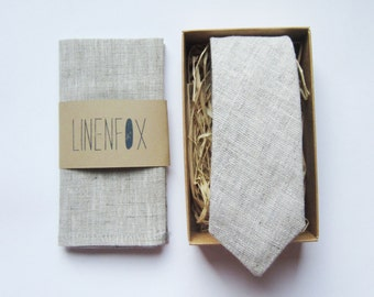 Set for Grey Color Skinny Tie And Pocket Square 100% linen