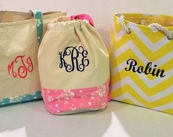 Monogrammed Tote and Duffle Bags Perfect for the Beach