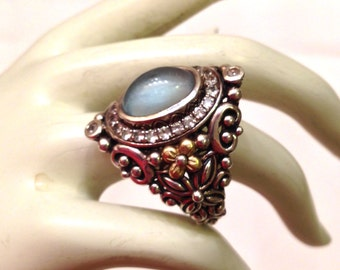 BARBARA BIXBY 18k & Sterling Silver Moonstone and White Sapphire Statement Ring