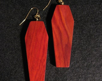 Large coffin shaped Redheart Earrings