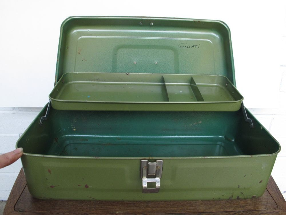 Little Green Metal Tool Box Fishing Tackle Box Craft