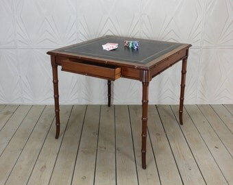 Vintage Faux Bamboo Leather Top Game Card Table Hollywood Regency Style Henry Link Mid Century 50 S