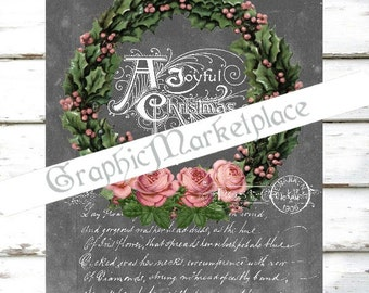 Chalkboard Christmas Wreath Large Image Instant Download Vintage Transfer Fabric digital collage sheet printable No. 1984