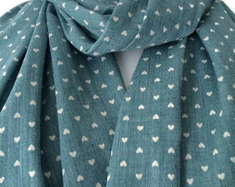 Heart Print Scarf , Blue Green and Ivory Cream Love Hearts Pattern, Ladies Cotton Linen Blend Wrap