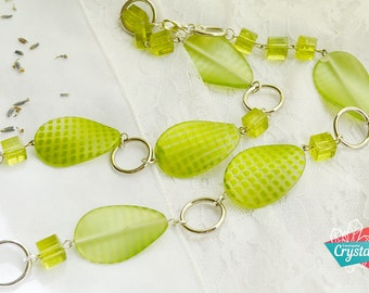 Czech Glass Necklace, Green Necklace, Czech Green Necklace, Green Bead Necklace, Long Green Necklace, Czech Necklace