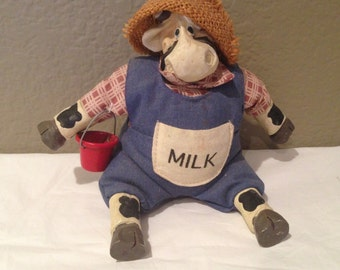 Vintage Cow Figurine/Soft Sculpture/by Kathleen Kelly Milk- Signed on Neck Collectibles
