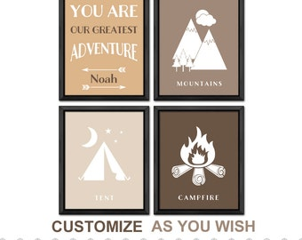 camping nursery personalized, mountain nursery, tent nursery, campfire nursery, adventure nursery, adventure playroom PRINT/CANVAS/DIGITAL
