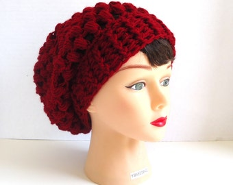 Crocheted Red Slouchy Hat - Slouchy Hat - Red Slouchy Beanie - Red Beanie - Red Hat - Fall Hat