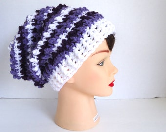 Crochet Slouchy Hat - Womens Slouchy Hat - Girl Hat - Striped Beanie - Fall Hat - WInter Beanie - Ready To Ship
