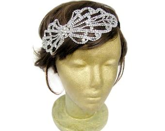 Retro Style Rhinestone Hair Accessories, Rhinestone Wedding Hair Jewelry, Great Gatsby Headpiece, Bow Headband, Bow Headpiece