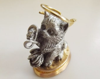 L'il Angels Kitty Pewter Figurine by Cathedral & Inc Since 1920, gray and gold, Gold Win