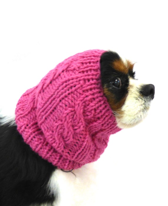 Knitting Pattern Dog Snood : 100% Wool Cable Knit Dog Snood in Red/ Winter dog snood/ dog