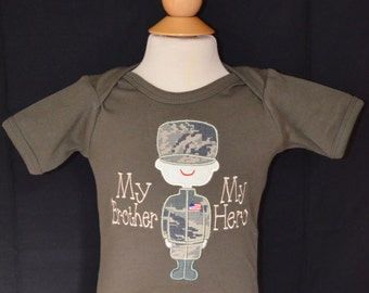 Personalized Military Man My Dad's My Hero or My Mom's My Hero Applique Shirt or Onesie Boy or Girl