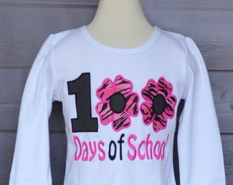 100 Days of School Flowers Applique Shirt or Onesie Boy or Girl