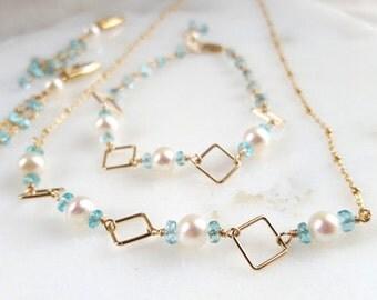 SALE 3 Piece Set Pearl Apatite Modern Geometric Pendant Necklace Bracelet Lever Back Dangle Tassel Earrings 14K GF Fine Jewelry Life Bijou