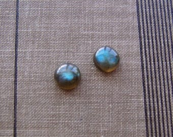 Natural Labradorite Stone Stud Earrings on Stainless Surgical Steel Posts 7mm