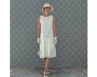 Cream chiffon flapper dress with a ruffled skirt detail, cream Great Gatsby dress, 1920s flapper dress, high tea dress, 1920s wedding gown
