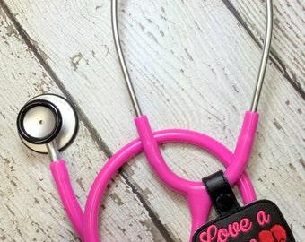 Love a Nurse PRN - Stethoscope Tab - Key Fob In The Hoop - DIGITAL Embroidery DESIGN