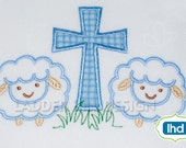 Lamb Outline with Cross Applique Machine Embroidery Design No.  EA015A