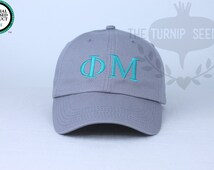 Phi Mu Greek Only Sorority Baseball Cap - Custom Color Hat and Embroidery.