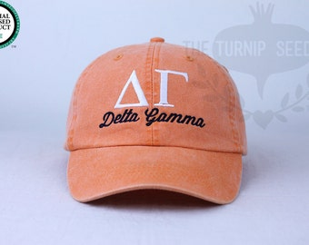 Delta Gamma Sorority Baseball Cap - Custom Color Hat and Embroidery.