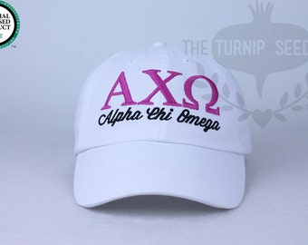 Alpha Chi Omega Sorority Baseball Cap - Custom Color Hat and Embroidery.