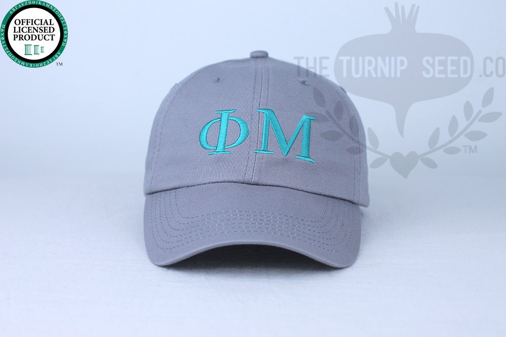 phi mu greek only sorority baseball cap custom color hat and embroidery