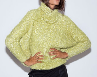 1970's Sweater// Vintage Sweater// 1970's Green Sweater