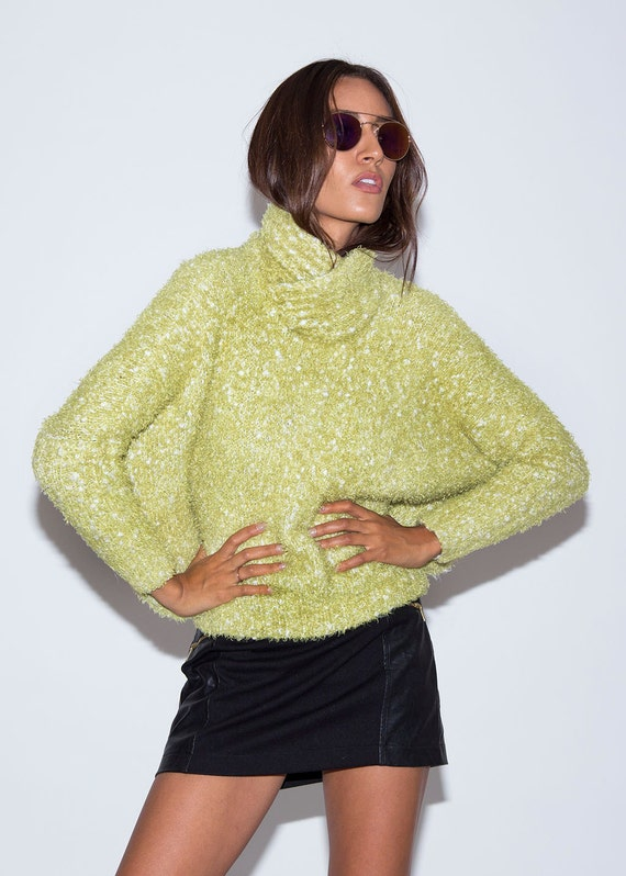1970's Sweater// Vintage Sweater// 1970's Green