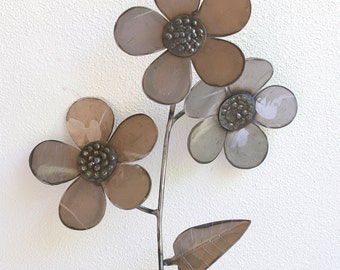 Rustic Metal Sculpture - Raw Metal Flower Trio Yard Stake / Garden Decor