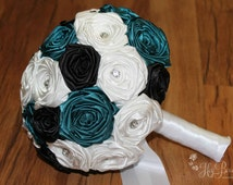 Teal, Black, & White Fabric Bouquet, Teal Fabric Bouquet, Teal Wedding Bouquet, Teal Bridal Bouquet, Teal Bouquet, White Wedding Bouquet
