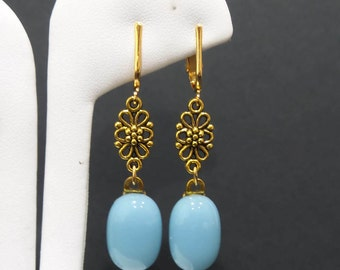 Long Baby Blue Clip On Earrings with Floral Detail, Dangle Clip Earrings, Fused Glass Jewelry - Baby Blues  - - 5