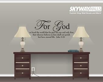 John 3:16 For God So Loved the World Scripture Vinyl Wall Decal Décor