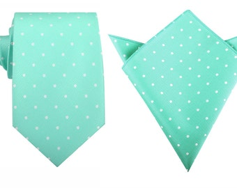 Matching Necktie + Pocket Square Seafoam Green with White Polka Dots (M138-T8+P) Handkerchief Neck Tie Combo Ties Neckties Thick Wide OTAA