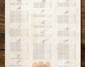 Wedding Seating Chart Fall Trees Alpha Last Names | Orange Reds Golds | Table Chart | Guests Seating Arrangements