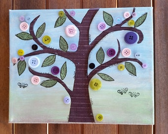 Whimsical Mixed Media Button Tree 8x10 Canvas, Home Decor, Nursery Decor, Pastel Colors