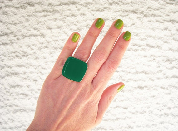 Emerald Green ring, green resin ring, big chunky square ring, greenery moss green ring, modern minimalist, color block, stainless steel