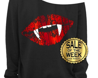 halloween shirt ladies off the shoulder sweatshirt vampire fangs trick or treat - Halloween Shirts For Ladies
