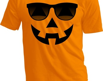 HALLOWEEN SHIRT - PUMPKIN Shades - Halloween Costume - Hipster Pumpkin Face - Youth and Adult Sizes - Youth Small - Adult 3x