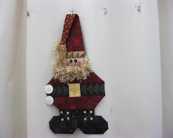 Patchwork Santa, red, boots, bell,beard,button nose, glasses