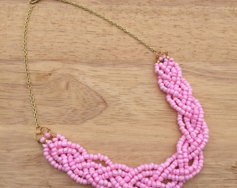 Pink Statement Necklace, Baby Pink Necklace, Light Pink Necklace, Baby Pink Necklace, Braided Necklace, Light Pink Statement Necklace