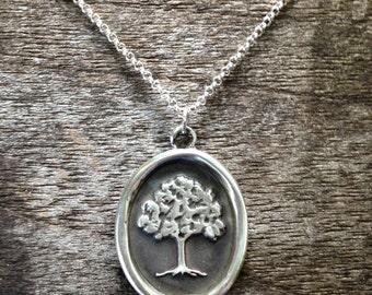Antique Lost Wax Seal Pendant - Tree
